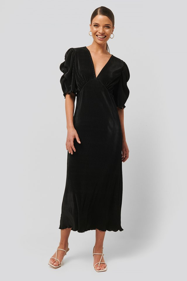 Black Robe Midi Plissée