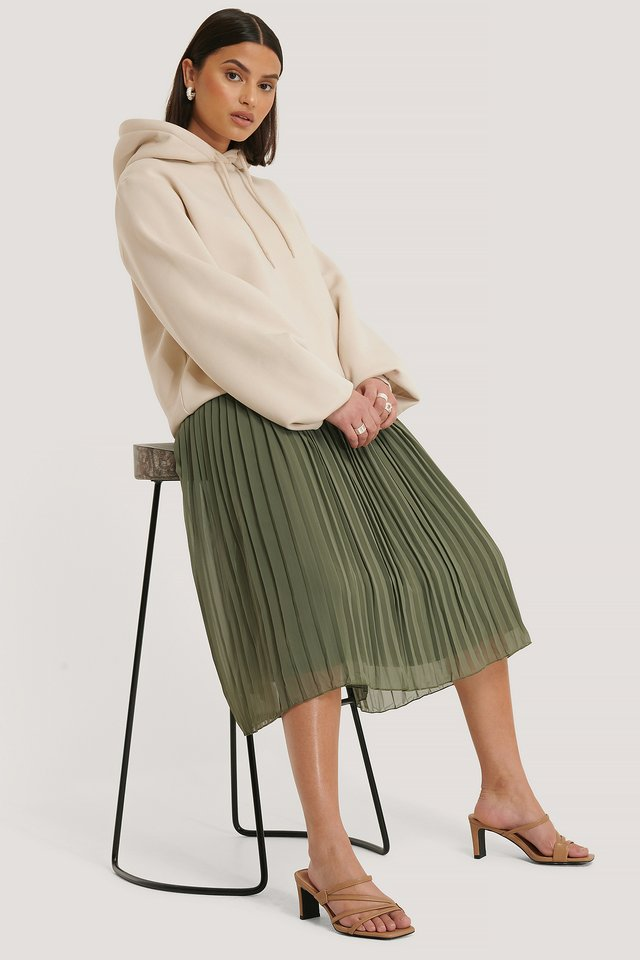 Pleated Midi Skirt Khaki Green