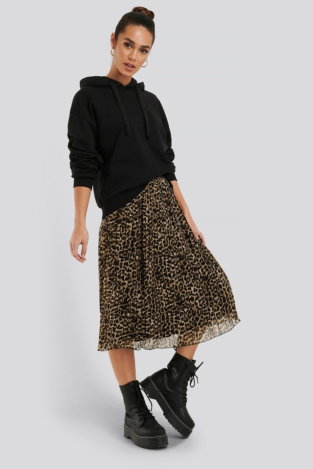 Pleated Midi Skirt Leoprint
