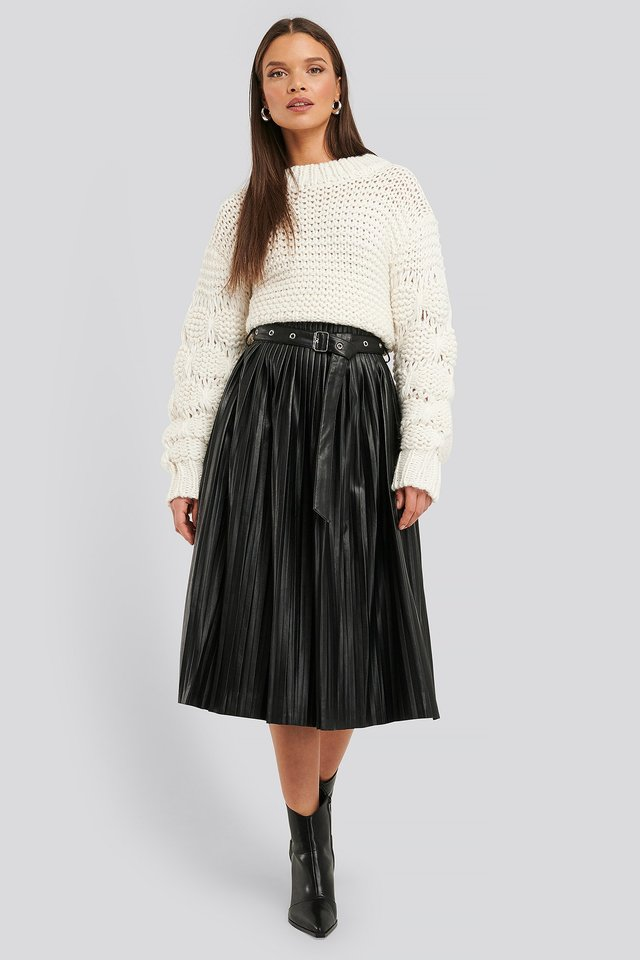 Pleated Pu Belt Skirt Black