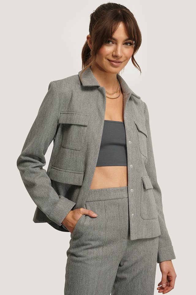 Grey Check Veste