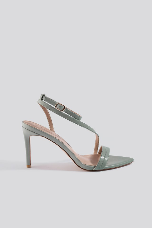 Pointy Sole Strappy Heels Mint