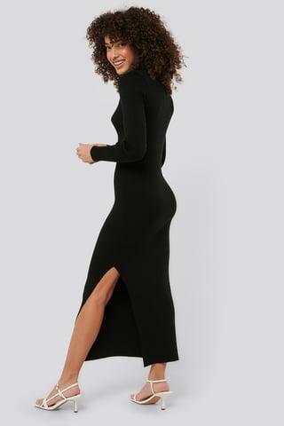Black Polo Collar Knit Maxi Dress