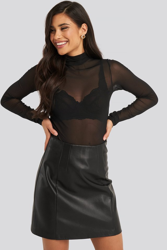 Polo Neck Mesh Top Black
