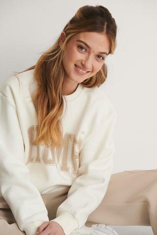 Offwhite Biologique Sweatshirt Imprimé Et Brossé