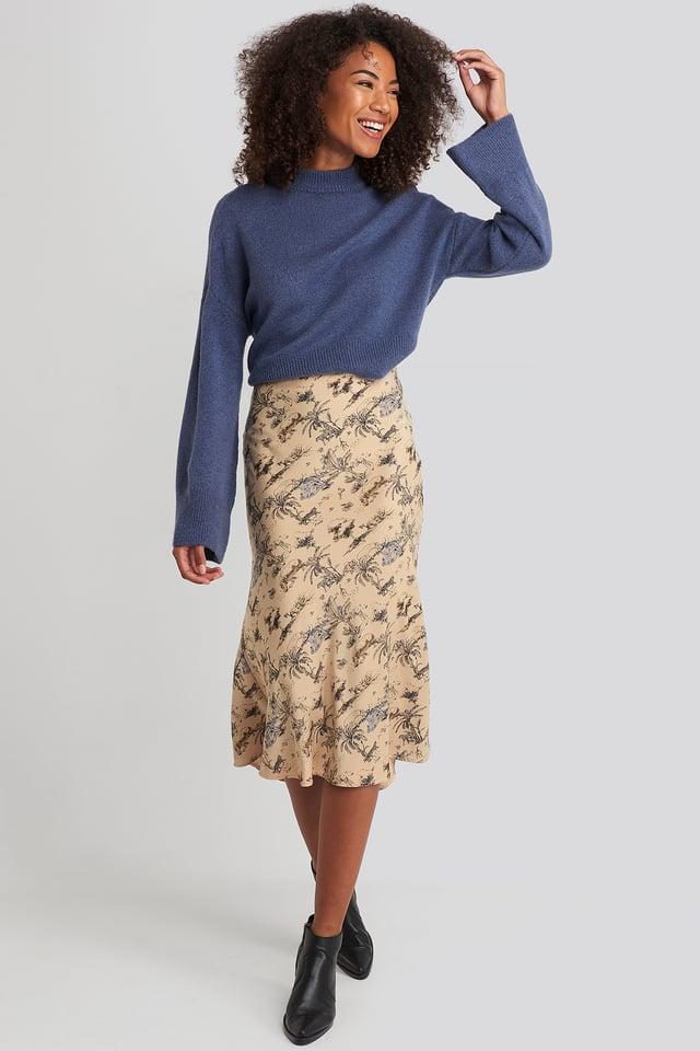 Satin Skirt Safari Print