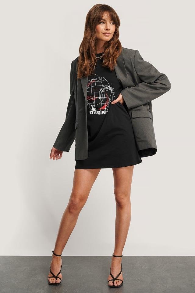 Robe Tee-Shirt Imprimée Black