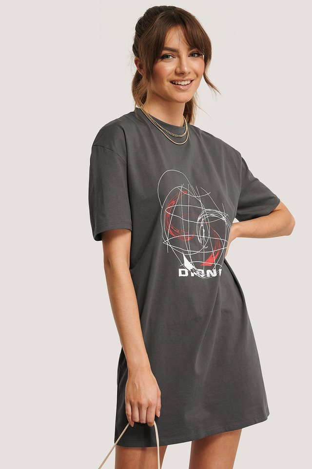 Robe Tee-Shirt Imprimée Grey