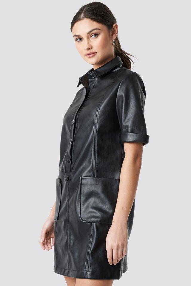 Black PU Button Up Mini Dress