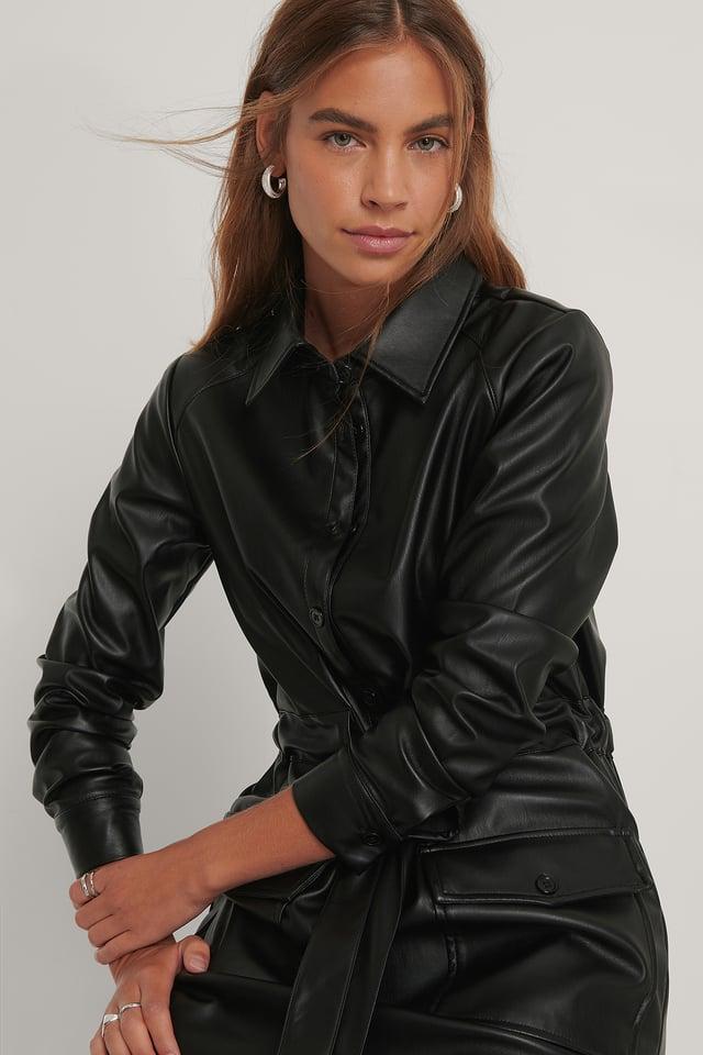 Robe Faux Cuir Black