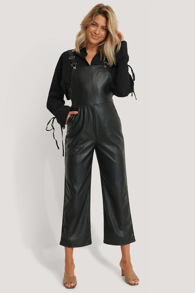PU Leather Dungaree Black