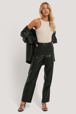 Black Pantalon Taille Mi-Haute En Faux Cuir