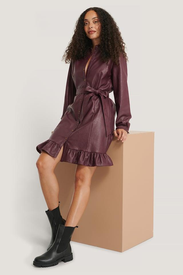 Robe Faux Cuir Burgundy