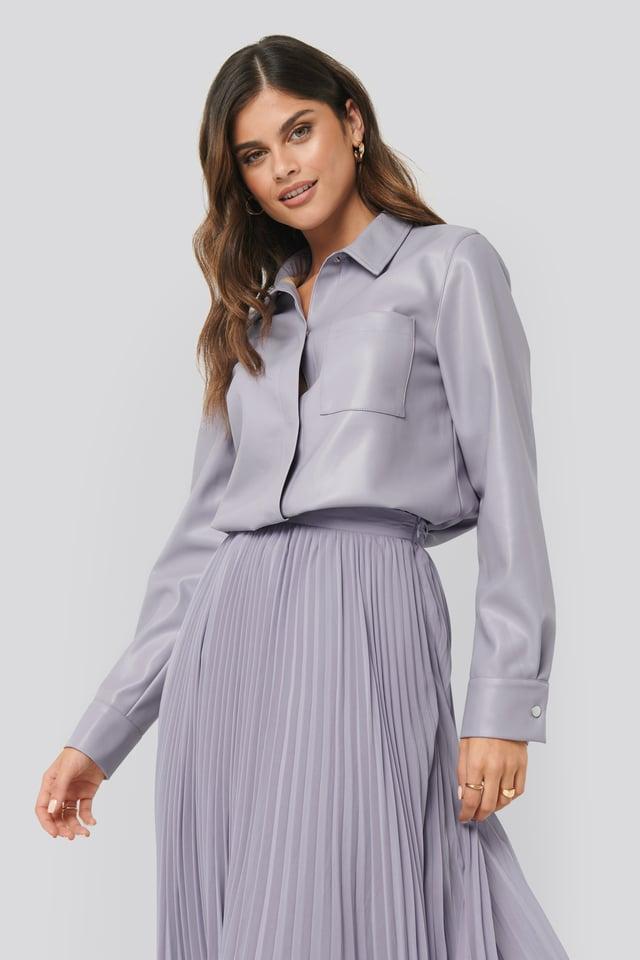 PU Pocket Shirt Purple