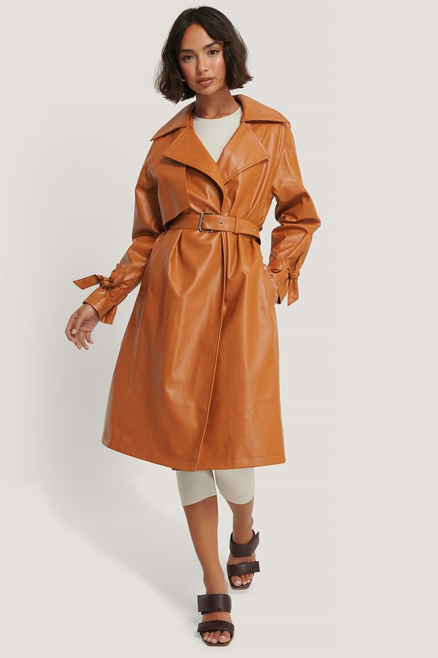 Trench En Faux Cuir Orange