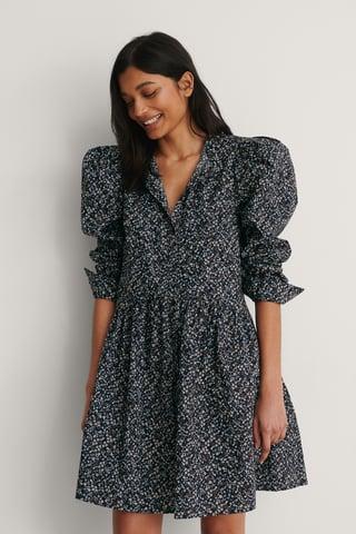 Black/Flower Print Robe À Épaules Bouffantes Avec Boutons