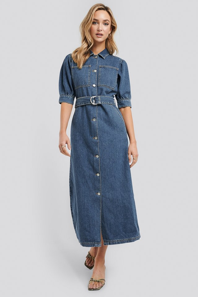 Puff Sleeve Belted Denim Dress Mid Blue