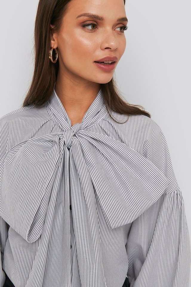 Puff Sleeve Pussy Bow Shirt Black/White Stripe