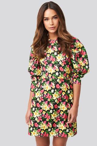 Floral Puff Sleeve Round Neck Mini Dress