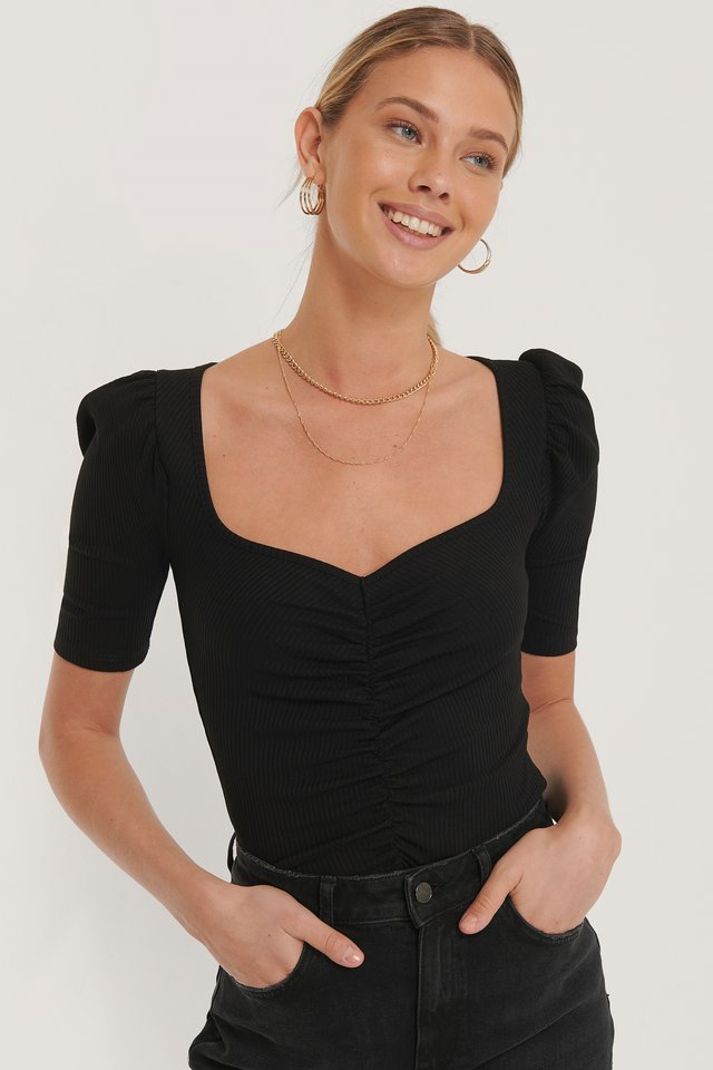 Puff Sleeve Ruched Top Black