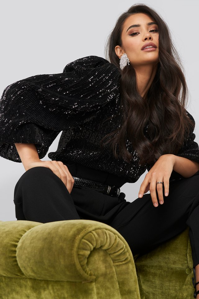 Puff Sleeeve Sequin Blouse Black