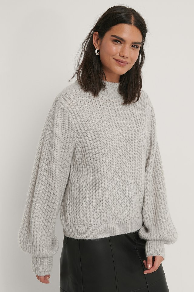 Light Grey Pull En Tricot À Manches Bouffantes