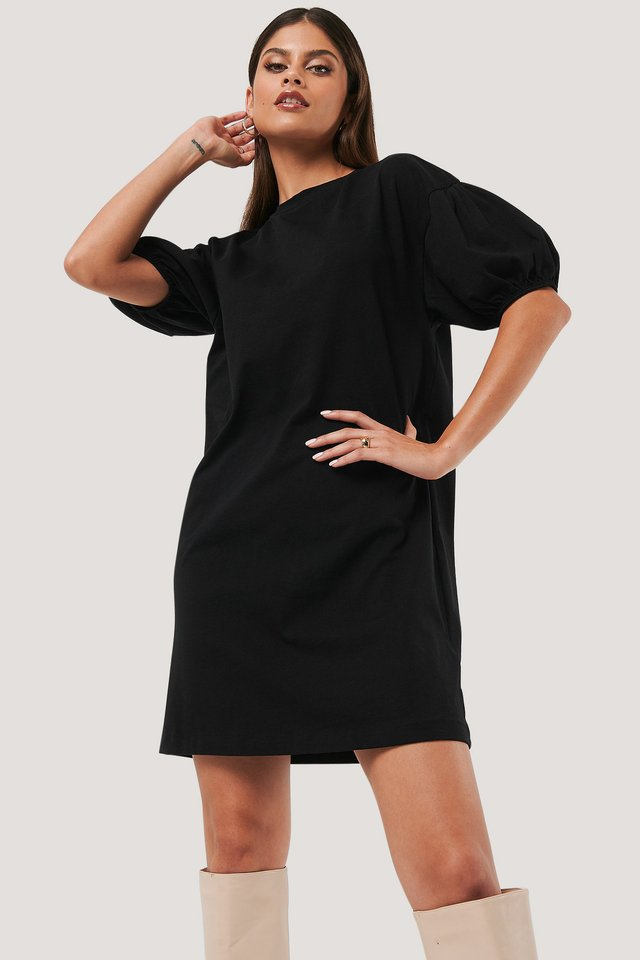 Puff Sleeve T-shirt Dress Black