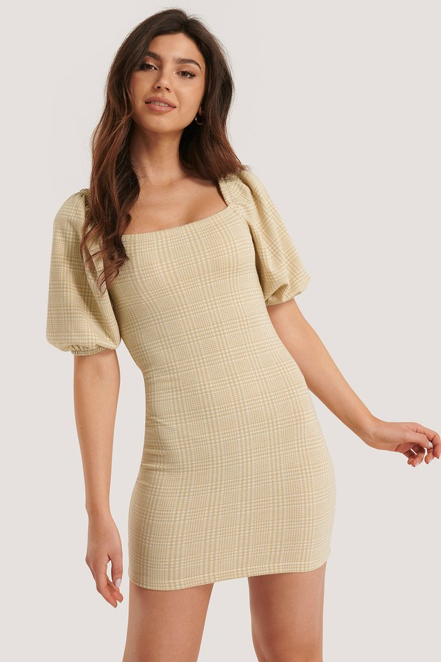Beige Check Robe Manches Bouffantes