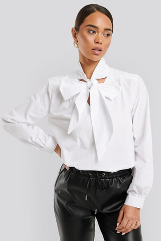 Optical White Pussy Bow V-neckline Shirt