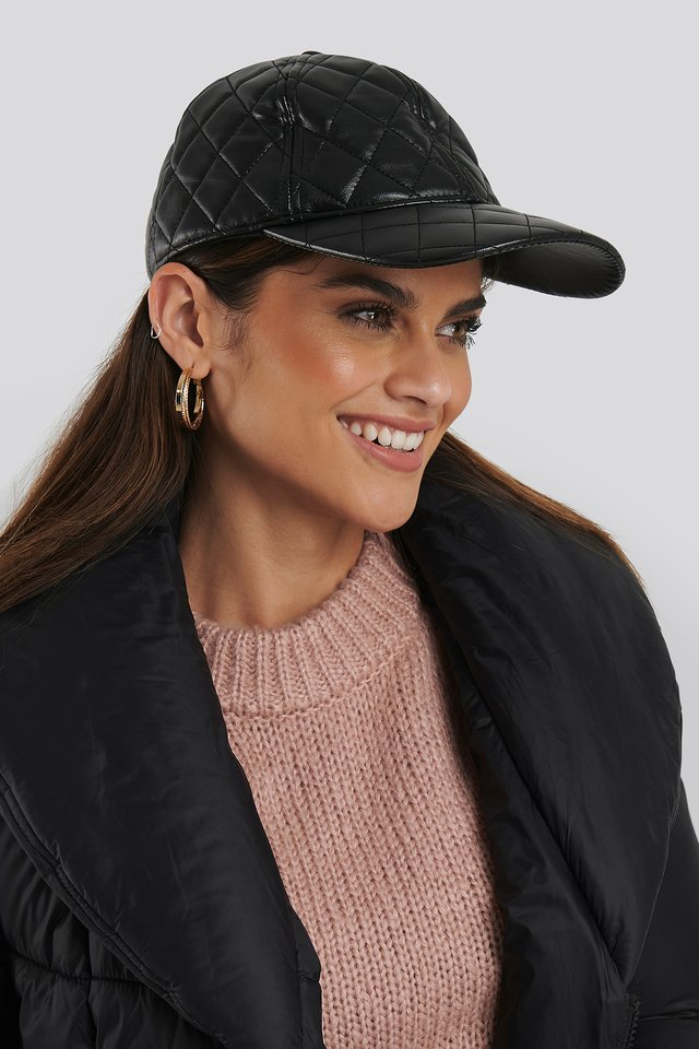 Black Quilted Baseball Cap