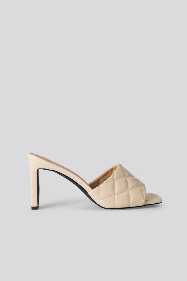 Quilted Heeled Mules Cream
