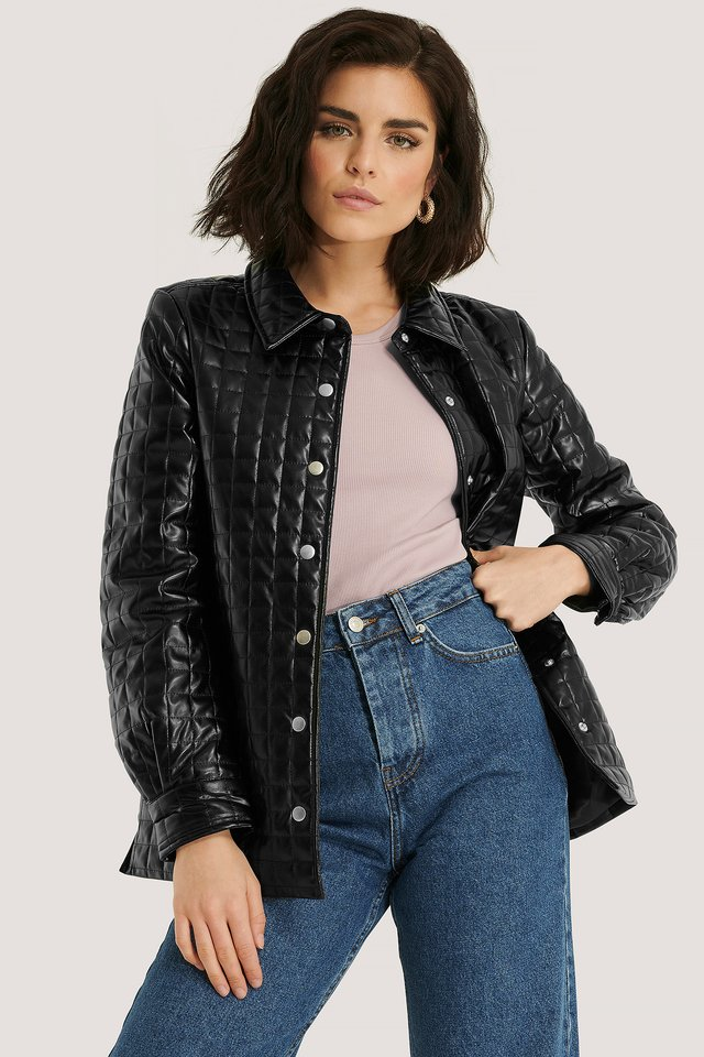 Quilted PU Jacket Black