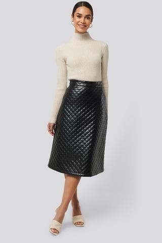 Black Quilted PU Midi Skirt