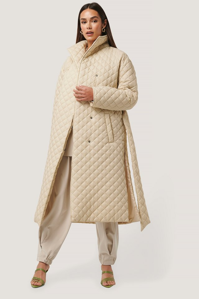 Quilted Long Jacket Beige