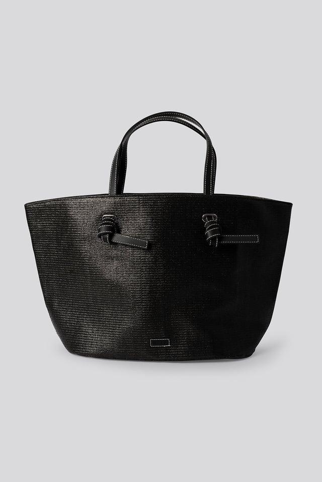 Raffia Basket Tote Black