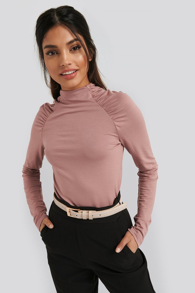 Raglan Ruched Sleeve Top Dusty Pink
