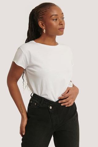 White Tee-Shirt À Bord Brut