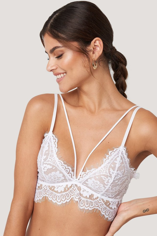 Raw Edge Double Strap Bra White