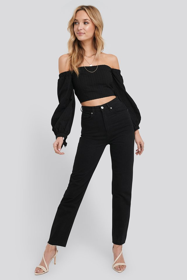 Raw Edge Mom Jeans Black