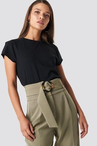 Black Tee-Shirt À Bord Brut