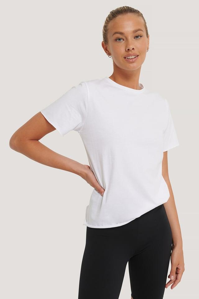 White Biologique Tee-shirt À Bord Brut