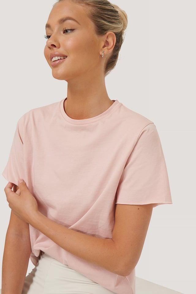 Dusty Pink Biologique Tee-shirt À Bord Brut