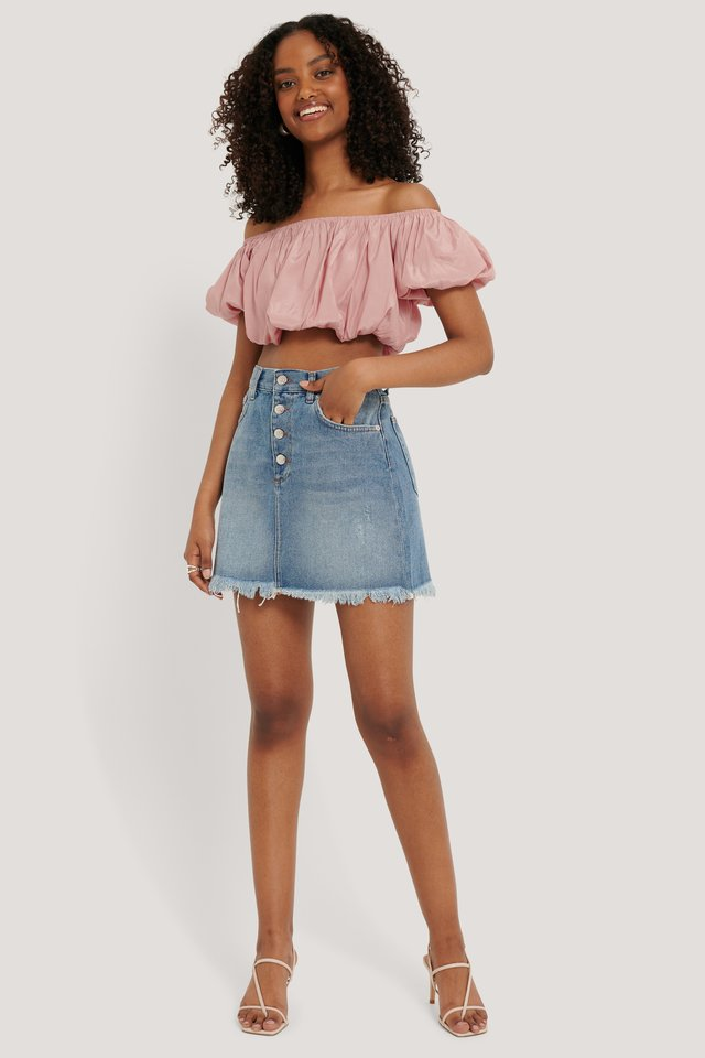 Mid Blue Wash Raw Hem Button Up Mini Skirt