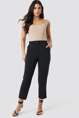 Black Raw Hem Pants