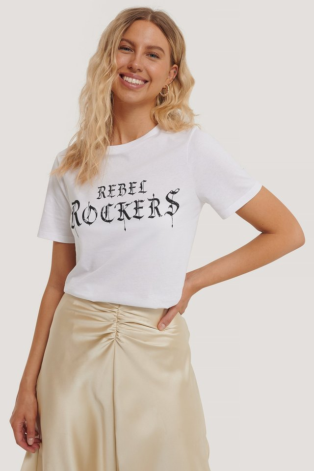 White Tee-Shirt À Motifs
