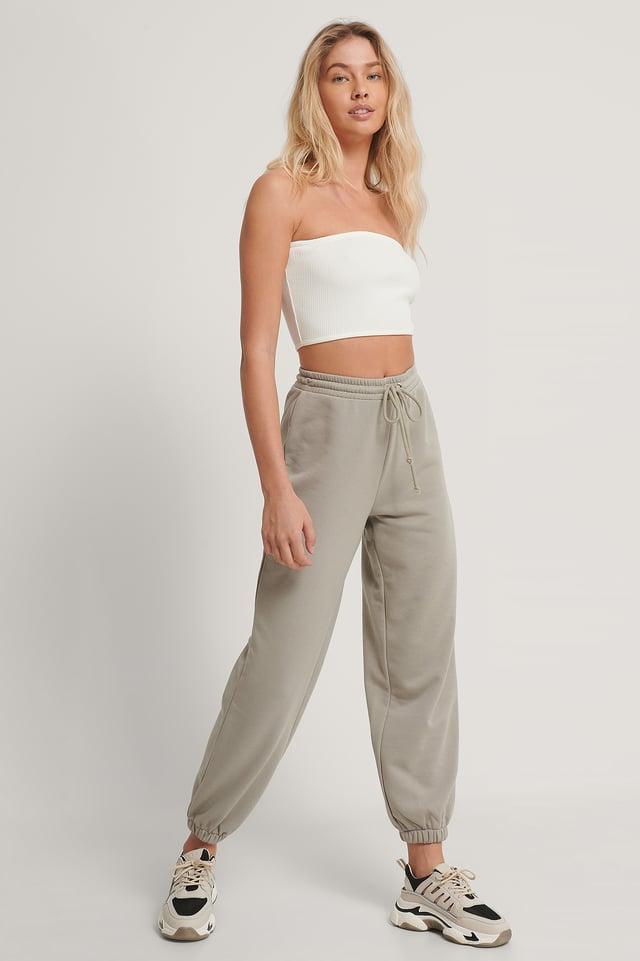 Grey Biologiques Pantalon De Survêtement À Cordon