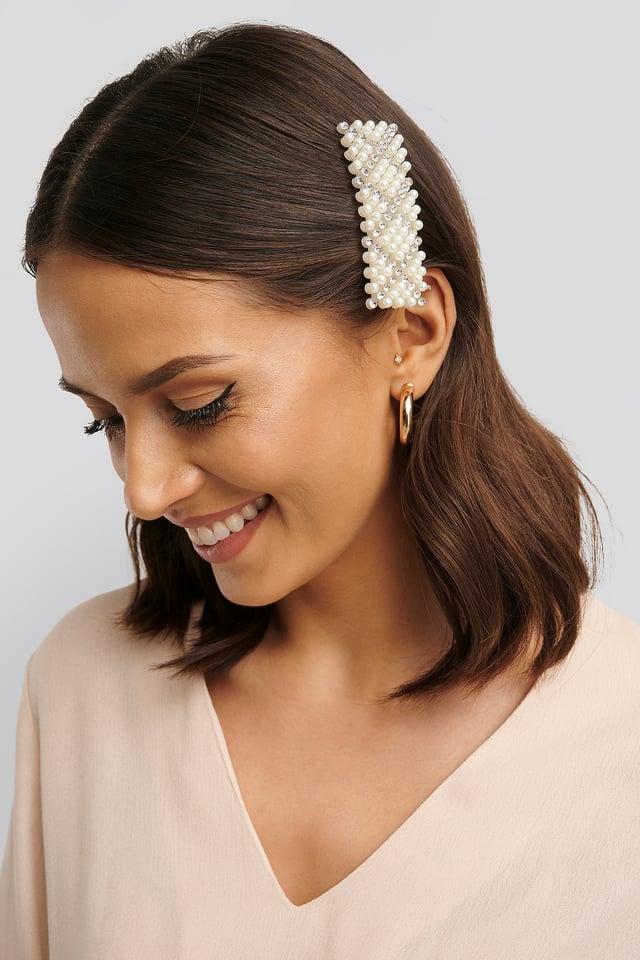 White Pince À Cheveux À Perles Et Strass Rectangulaires