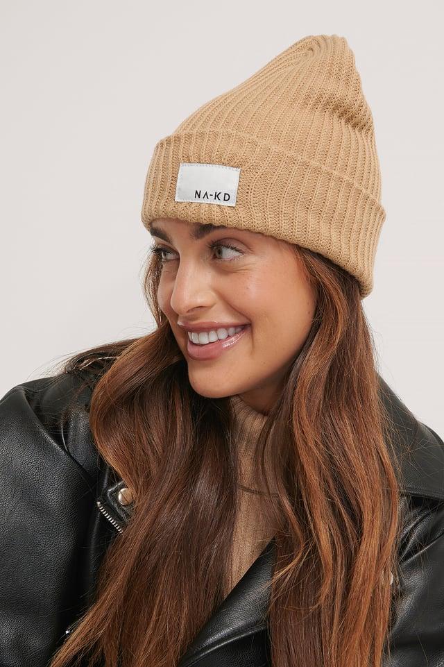 Recyclé Bonnet À Logo Beige