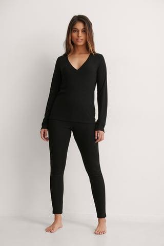 Black Collants Taille Haute Recyclés Côtelés