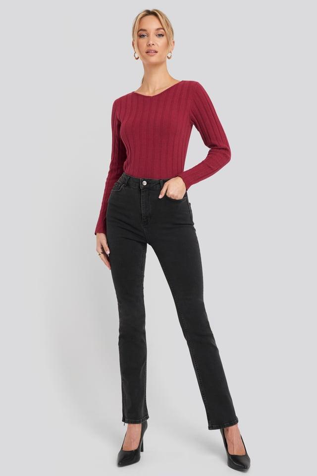 Recycled Split Hem Skinny Jeans Washed Black